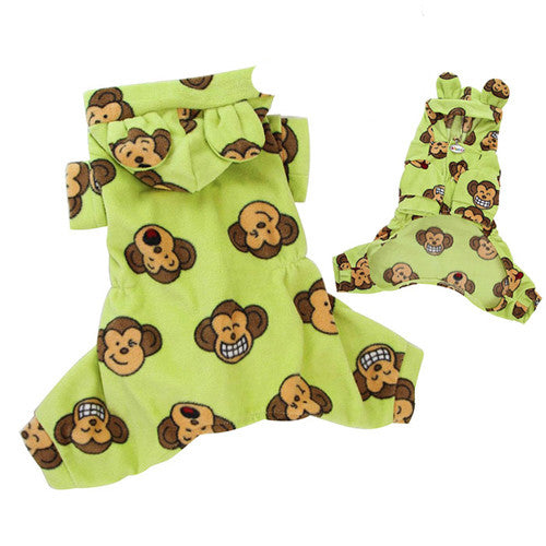 Klippo Pet Silly Monkey Hooded Dog Pajamas — Lime