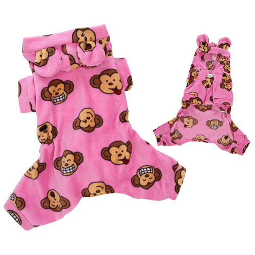 Klippo Pet Silly Monkey Hooded Dog Pajamas — Pink
