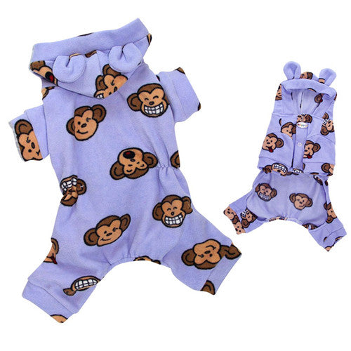 Klippo Pet Silly Monkey Hooded Dog Pajamas — Lavender