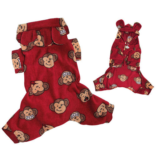 Klippo Pet Silly Monkey Hooded Dog Pajamas — Red