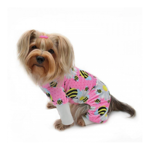 Klippo Pet Minky Stretch Four-Legged Dog Pajamas — Bumblebee + Flowers on Dog
