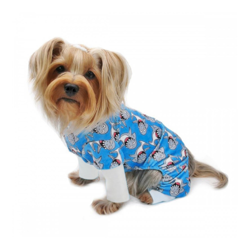 Klippo Pet Minky Stretch Four-Legged Dog Pajamas — Silly Shark on Dog