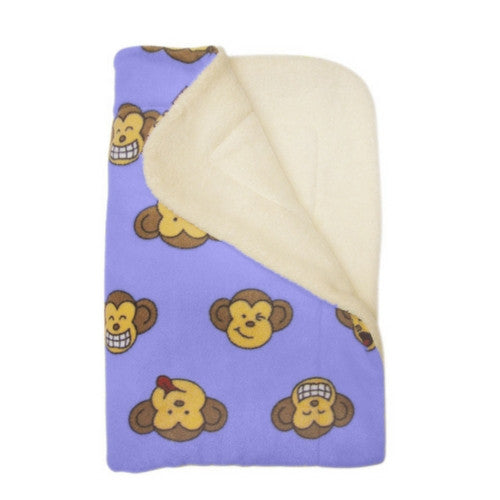 Klippo Pet Silly Monkey Fleece Dog Blanket Lavender