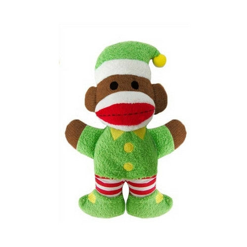 Lulubelles Baby Sock Monkey Elf Twinkles Holiday Plush Squeaky Dog Toy