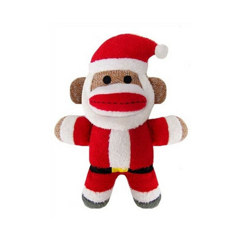 Lulubelles Baby Sock Monkey Santa Holiday Plush Squeaky Dog Toy