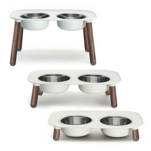 Messy Mutts Limited Edition Wooden Legs Elevated Double Feeder