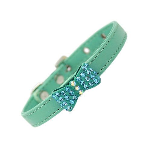 Mirage Bow-dacious Faux Leather Austrian Crystal Designer Dog Collar Aqua