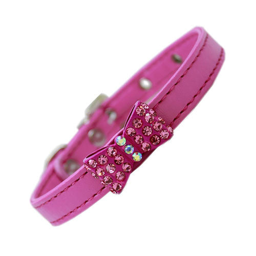 Mirage Bow-dacious Faux Leather Austrian Crystal Designer Dog Collar Bright Pink