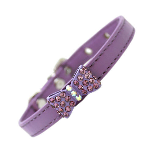 Mirage Bow-dacious Faux Leather Austrian Crystal Designer Dog Collar Lavender