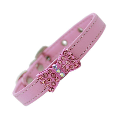 Mirage Bow-dacious Faux Leather Austrian Crystal Designer Dog Collar Light Pink