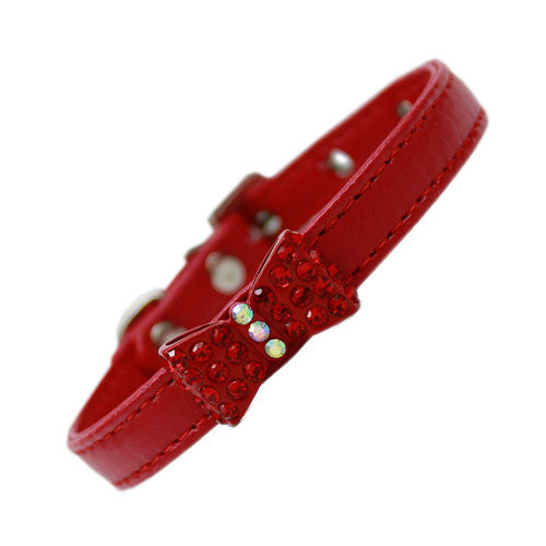 Mirage Bow-dacious Faux Leather Austrian Crystal Designer Dog Collar Red