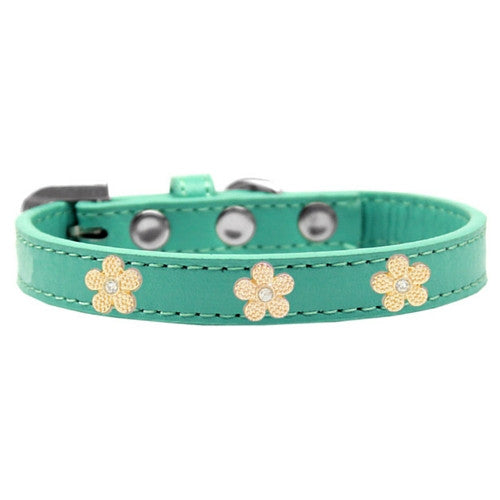 Mirage Pet Products Gold Flowers Widget Leather Designer Dog Collar Aqua