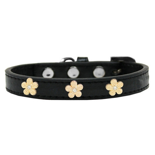 Mirage Pet Products Gold Flowers Widget Leather Designer Dog Collar Black