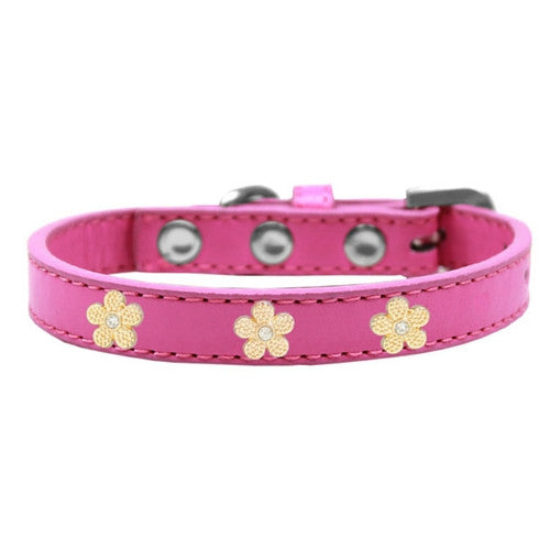 Mirage Pet Products Gold Flowers Widget Leather Designer Dog Collar Hot Pink
