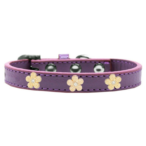 Mirage Pet Products Gold Flowers Widget Leather Designer Dog Collar Lavender