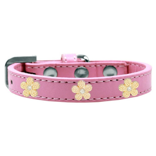 Mirage Pet Products Gold Flowers Widget Leather Designer Dog Collar Pink