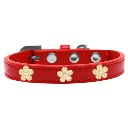 Mirage Pet Products Gold Flowers Widget Leather Designer Dog Collar Red