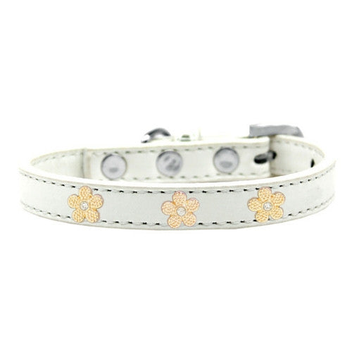 Mirage Pet Products Gold Flowers Widget Leather Designer Dog Collar White
