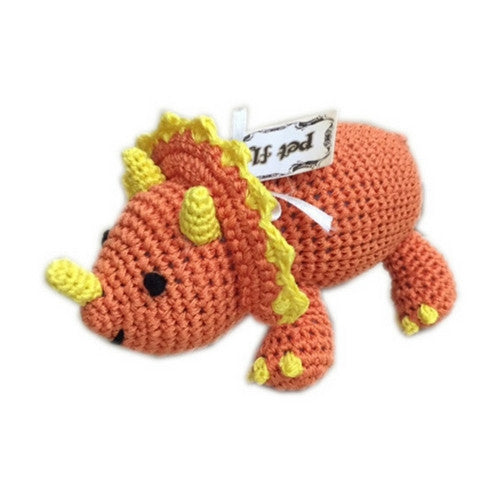 Bop the Triceratops Mirage Pet Flys Knit Knacks Organic Cotton Dog Squeaky Toy