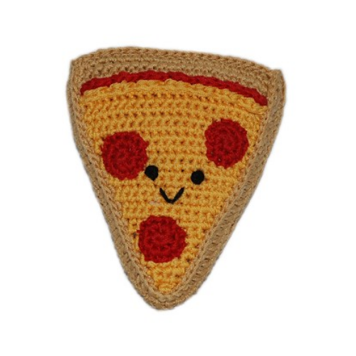 Pizza Slice Pet Flys Knit Knacks Organic Cotton Dog Squeaky Toy