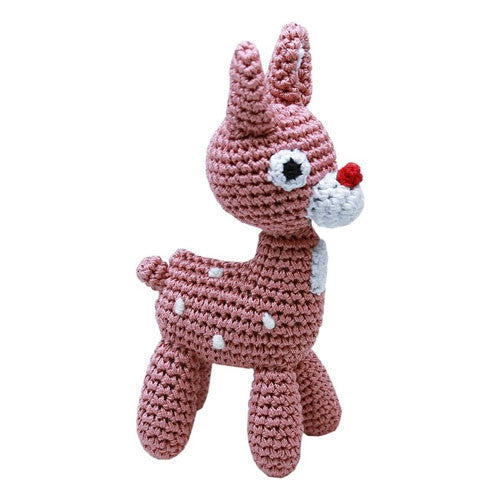 Rudy the Reindeer Pet Flys Knit Knacks Organic Cotton Dog Toy