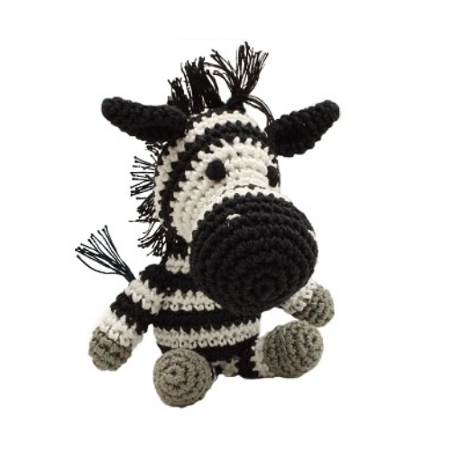 Zsa Zsa Zebra Mirage Pet Flys Knit Knacks Organic Cotton Dog Squeaky Toy