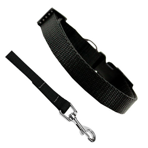 Basic Style Woven Nylon Solid Collar and Lead Set Black