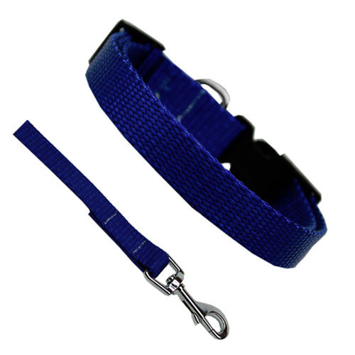 Basic Style Woven Nylon Solid Collar and Lead Set Blue