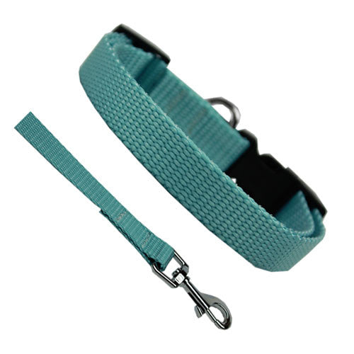 Basic Style Solid Color Lead Woven Nylon Collar Ocean Blue