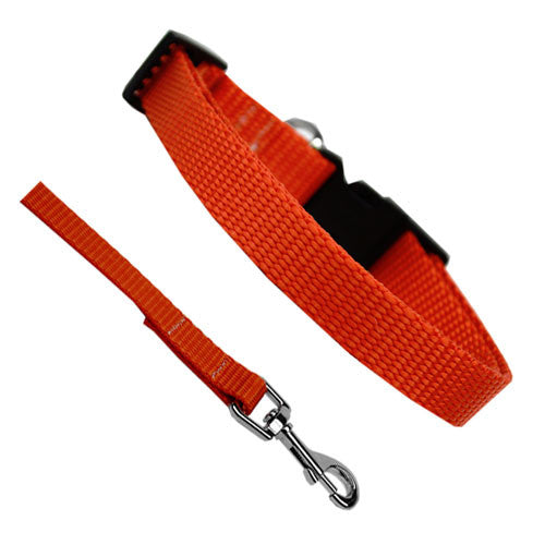 Basic Style Woven Nylon Solid Collar and Lead Set Orange