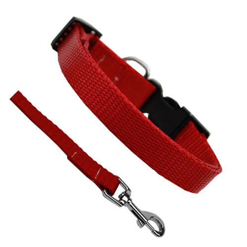 Basic Style Woven Nylon Solid Collar and Lead Set Red
