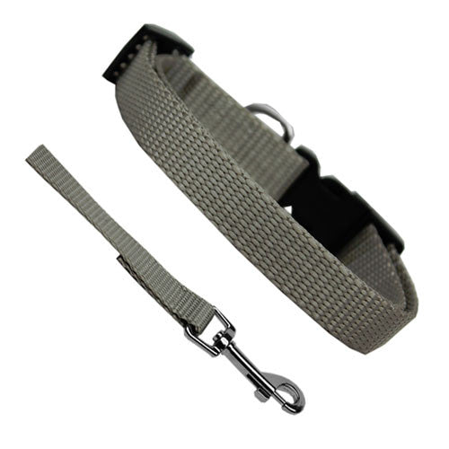 Basic Style Woven Nylon Solid Collar and Lead Set Silver Grey