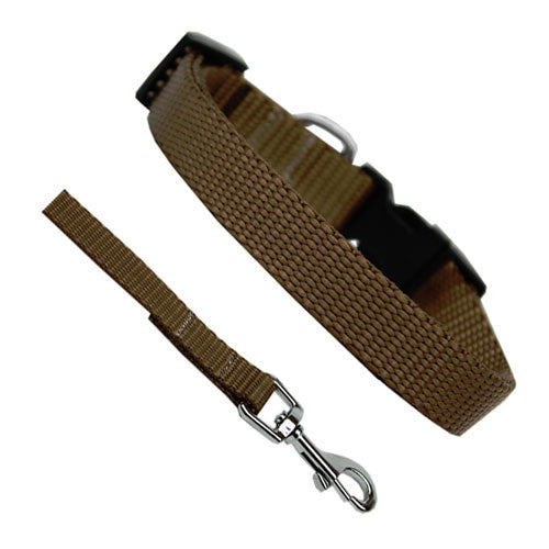 Basic Style Woven Nylon Solid Collar and Lead Set Tan