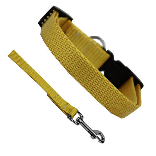 Basic Style Woven Nylon Solid Collar and Lead Set Yellow