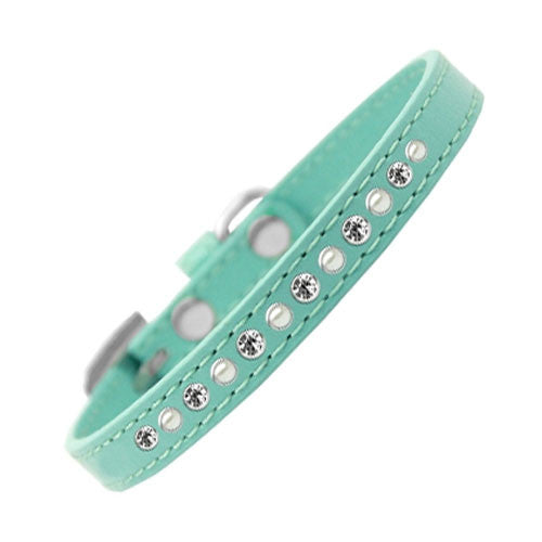 Mirage Faux Leather Pearl and Clear Crystal Puppy Collar Aqua