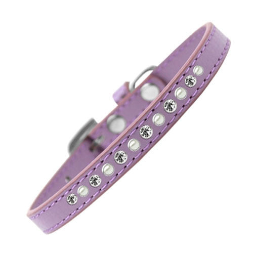 Mirage Faux Leather Pearl and Clear Crystal Puppy Collar Lavender