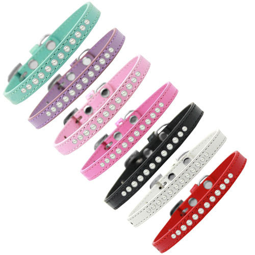 Mirage Faux Leather Designer Pearl Puppy Dog Collar All Colors
