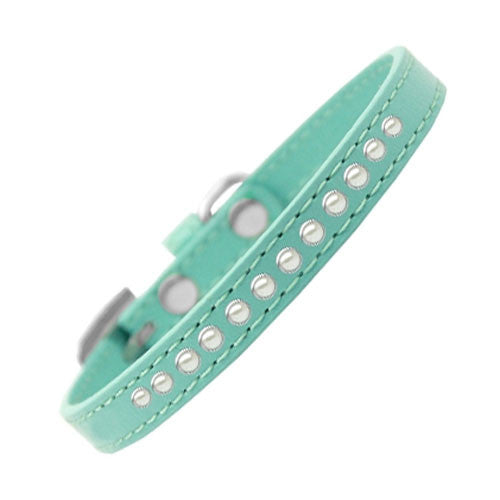 Mirage Faux Leather Designer Pearl Puppy Dog Collar Aqua