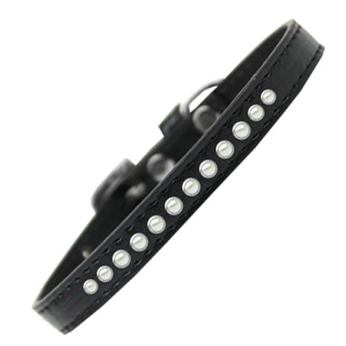 Mirage Faux Leather Designer Pearl Puppy Dog Collar Black