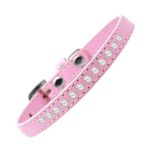 Mirage Faux Leather Designer Pearl Puppy Dog Collar Light Pink