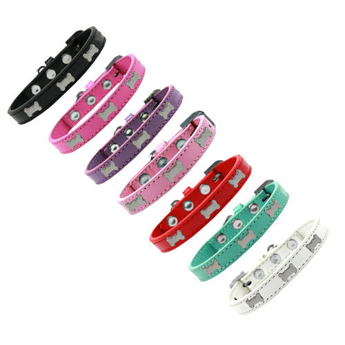 Mirage Pet Products Silver Bones Widget Leather Designer Dog Collar All Colors