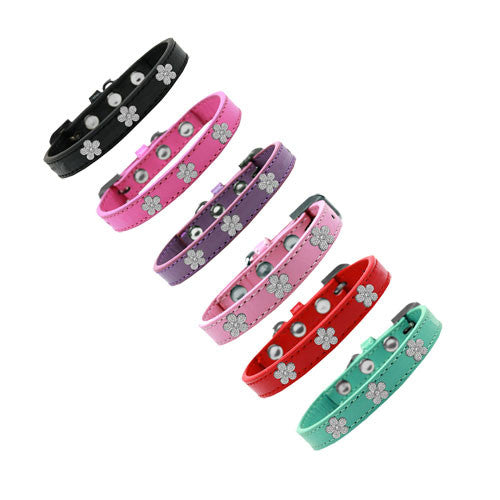 Mirage Pet Products Silver Flowers Widget Leather Designer Dog Collar All Colors