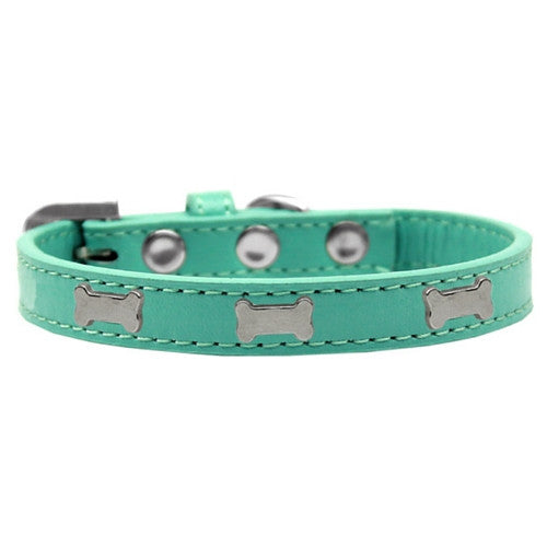 Mirage Pet Products Silver Bones Widget Leather Designer Dog Collar Aqua