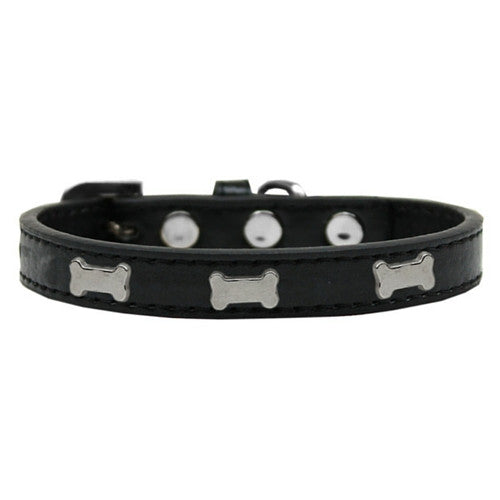 Mirage Pet Products Silver Bones Widget Leather Designer Dog Collar Black