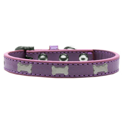Mirage Pet Products Silver Bones Widget Leather Designer Dog Collar Lavender