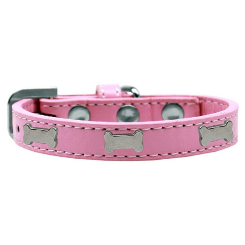 Mirage Pet Products Silver Bones Widget Leather Designer Dog Collar Pink