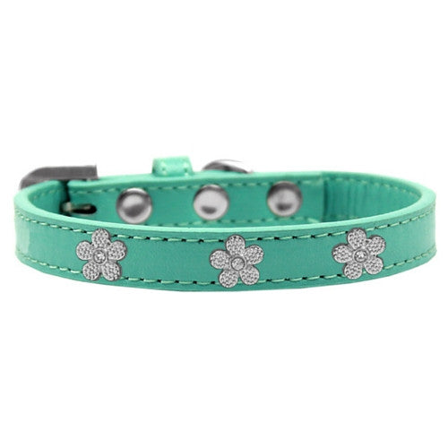 Mirage Pet Products Silver Flowers Widget Leather Designer Dog Collar Aqua