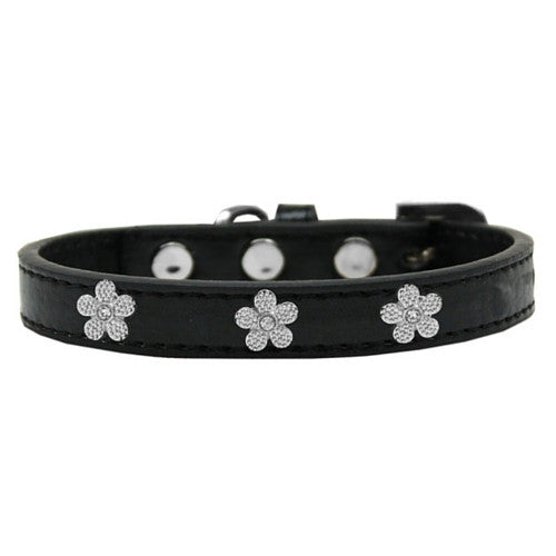 Mirage Pet Products Silver Flowers Widget Leather Designer Dog Collar Black