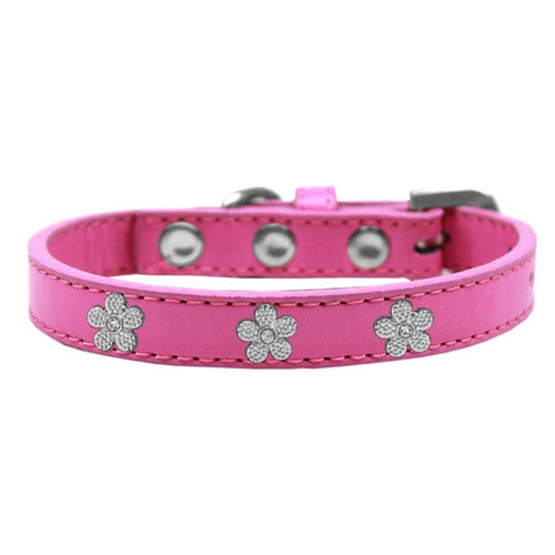 Mirage Pet Products Silver Flowers Widget Leather Designer Dog Collar Hot Pink