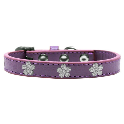Mirage Pet Products Silver Flowers Widget Leather Designer Dog Collar Lavender